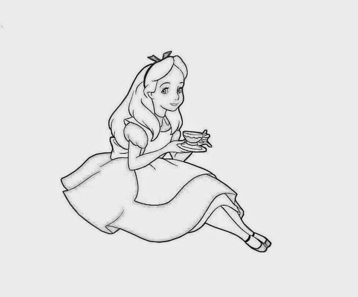 Alice Coloring Drawing Free wallpaper