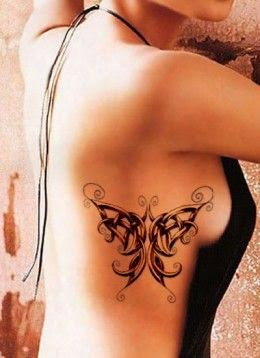 ♥ ♫ ♥ Celtic Butterfly Tattoo on Rib Cage in blue white and green ♥ ♫ ♥