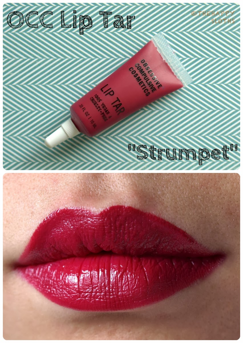 occ lip tar in strumpet review and swatches the happy sloths