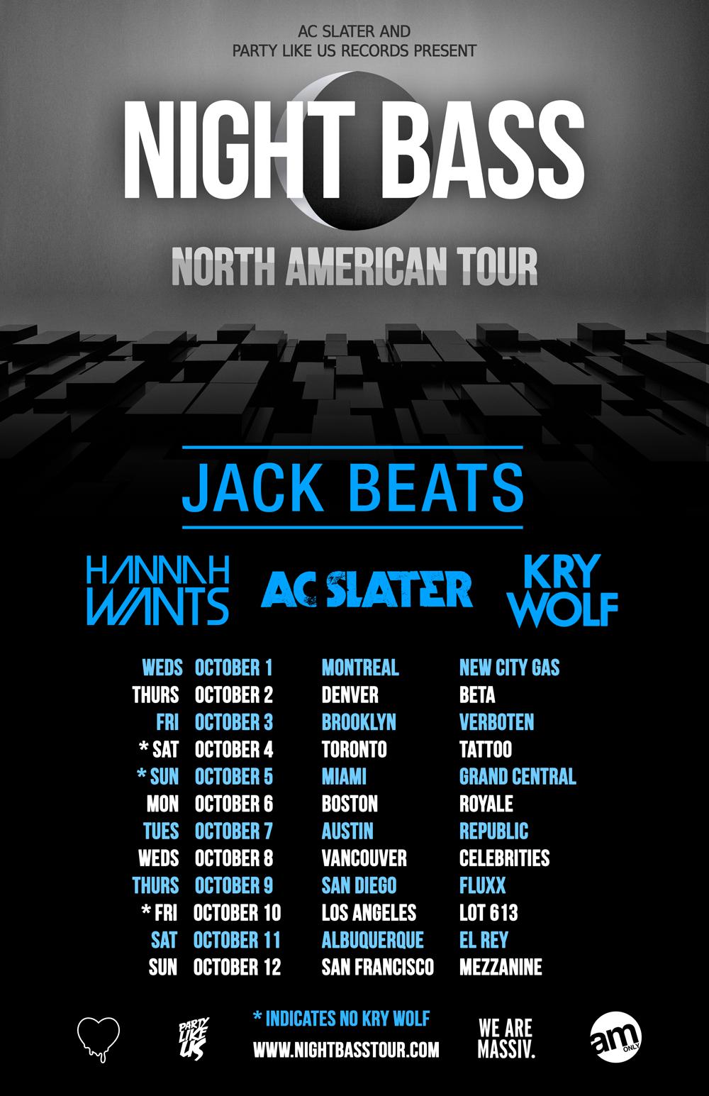 Jack Beats, AC Slater, Hannah Wants, Kry Wolf