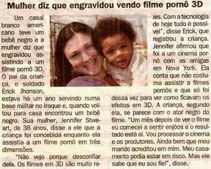 Mulher diz ter engravidado assistindo filme pôrno 3D