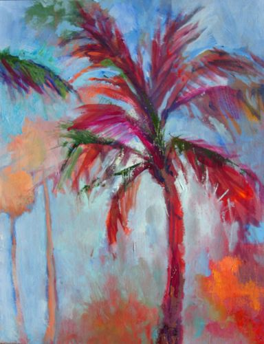 Amy whitehouse paintings back to the beach acrylic for Palm tree painting