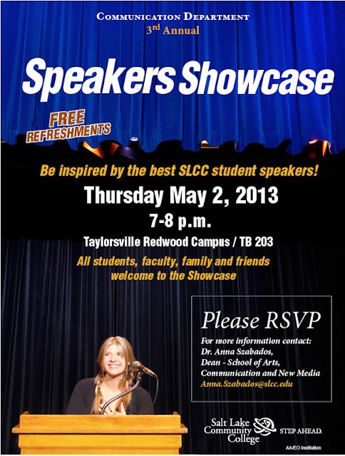 SLCC Speakers Showcase. Thurs May 2. 7:00 p.m.