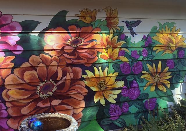 flower mural, house exterior mural, home mural, custom mural, portland mural