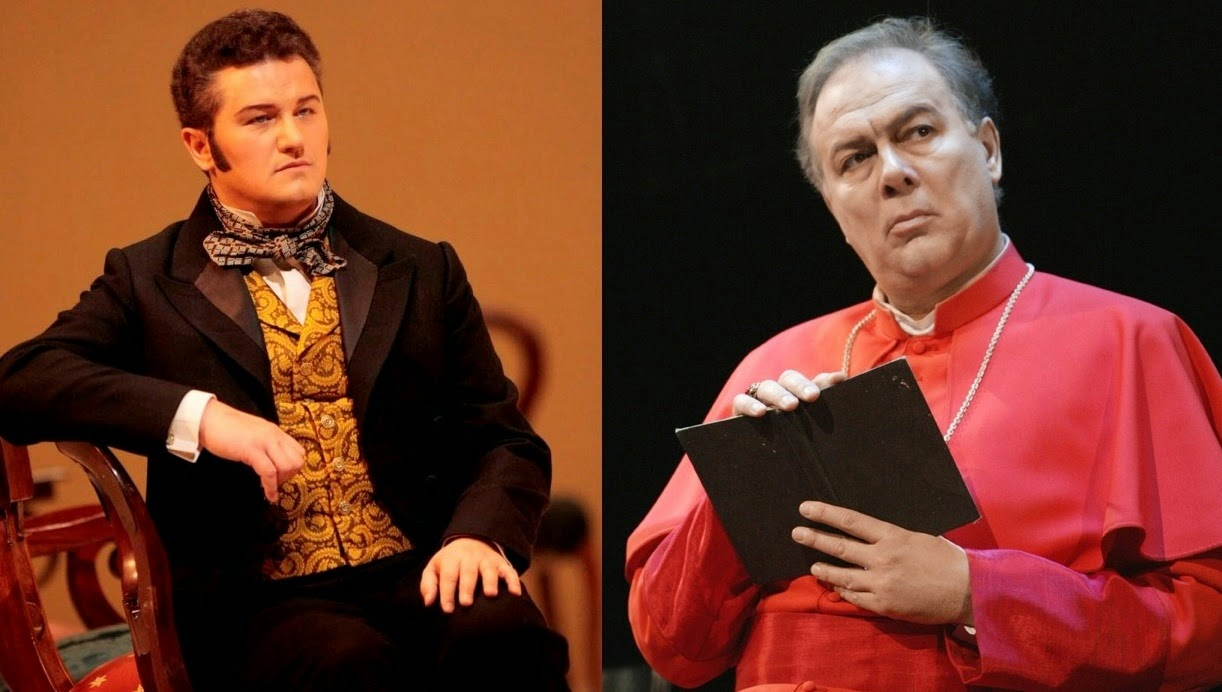 Polish tenor Piotr Beczała as Lenski in Tchaikovsky's YEVGENY ONEGIN in 2009 (left – Photo by Beatriz Schiller) and Italian bass Ferruccio Furlanetto as Cardinal de Brogni in Halévy's LA JUIVE in 2003 (right – Photo by Ken Howard) [Photos © by The Metropolitan Opera]