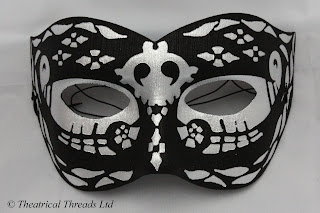 Night Black & Silver Masquerade Ball Mask from Theatrical Threads Ltd