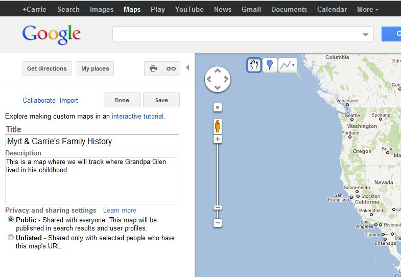 how to create my place in google map