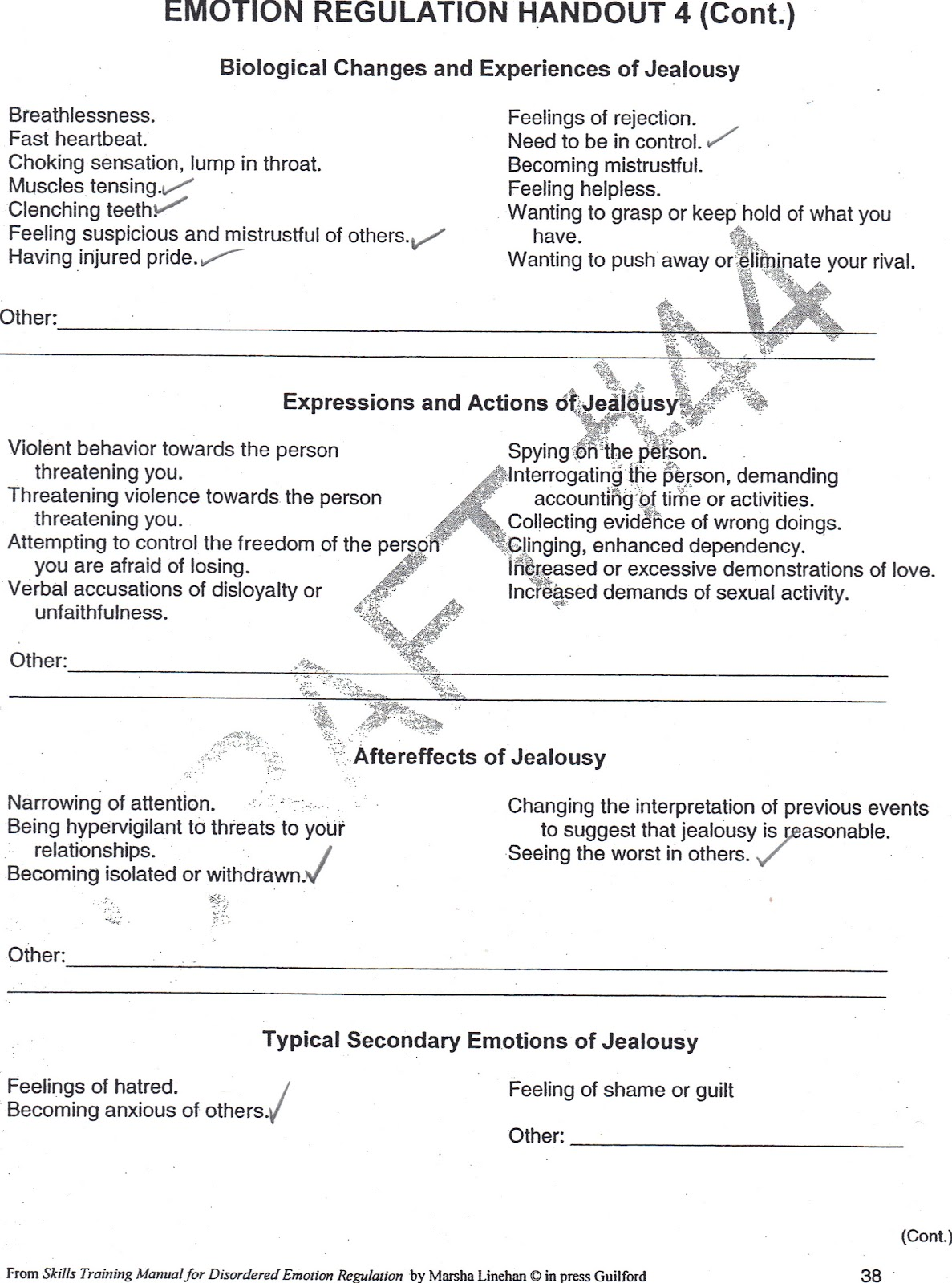 Healing From BPD Borderline Personality Disorder Blog Jealousy – Emotion Regulation Worksheet
