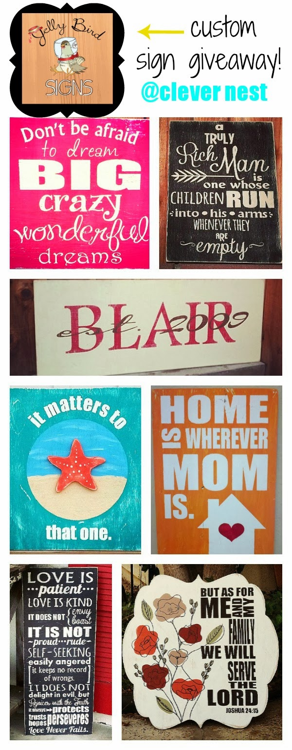 $30 Jelly Bird Signs giveaway! @ clever nest, open world wide, ends 2/26/14 #free #subwayart #kitchen #blogversary