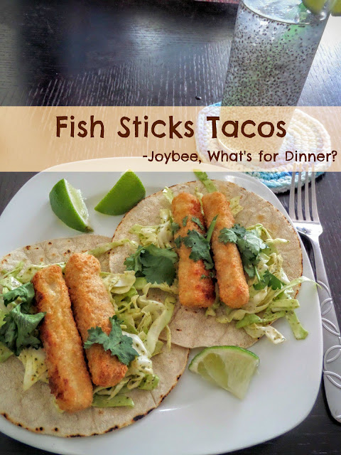 Fish Sticks Tacos:  A quick dinner fix of fish tacos made with fish sticks and slaw on corn tortillas.