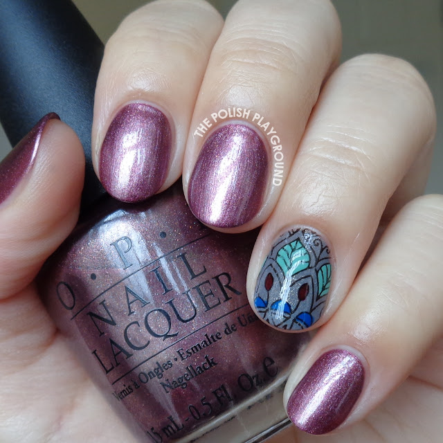 Fall to Winter Transitional Polish with Stamping Decal Accent Nail Art
