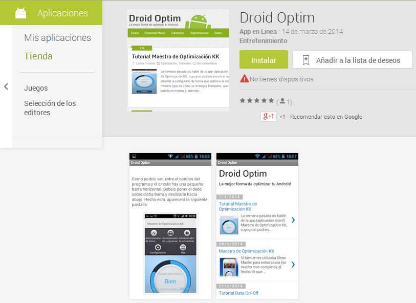 App de Droid Optim en Google Play Store