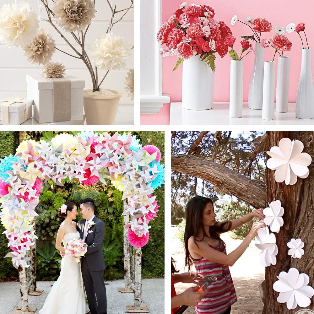 Flor de papel como decoração