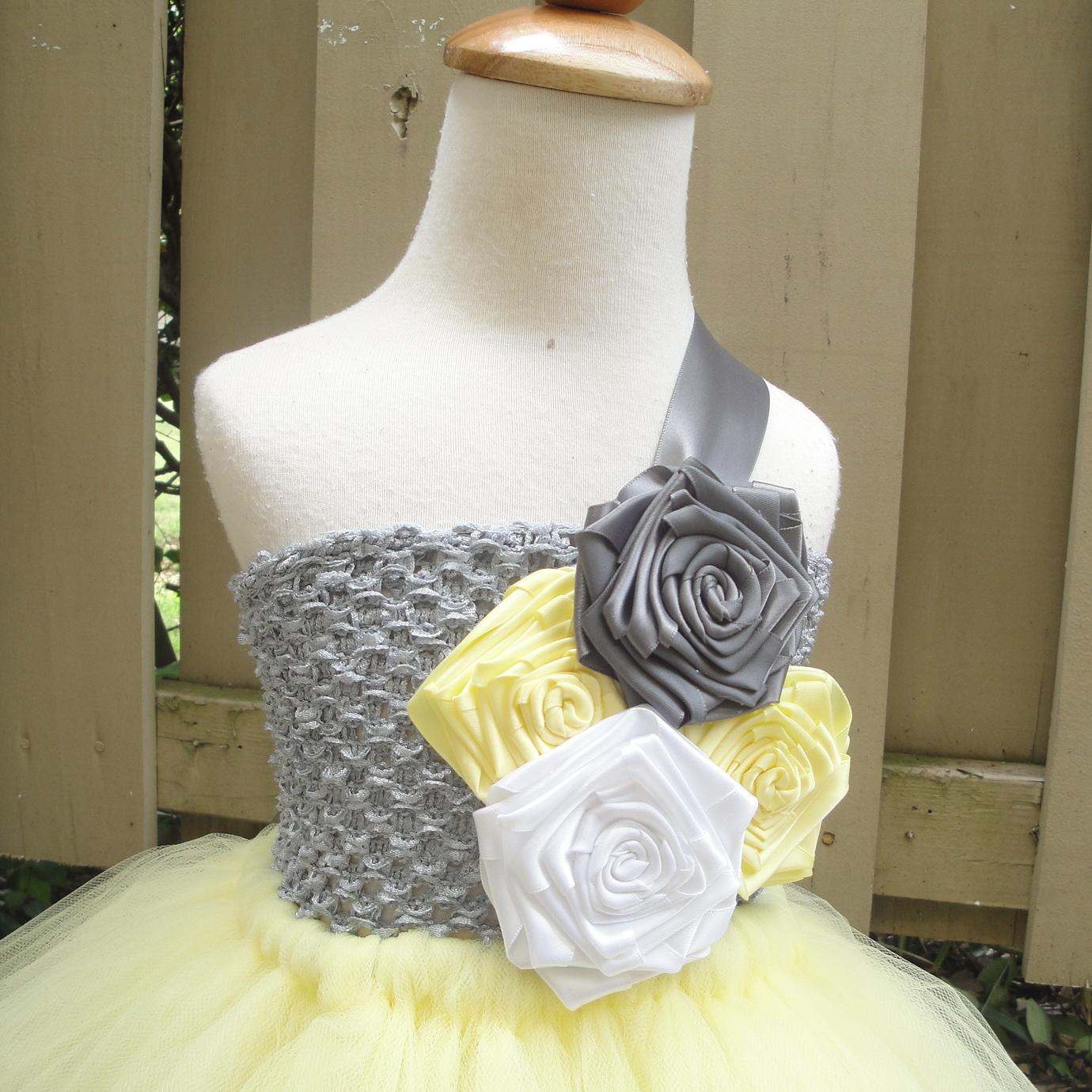 Yellow and grey flower girl tutu dress flower girl tutu dresses yellow and grey flower girl tutu dress mightylinksfo