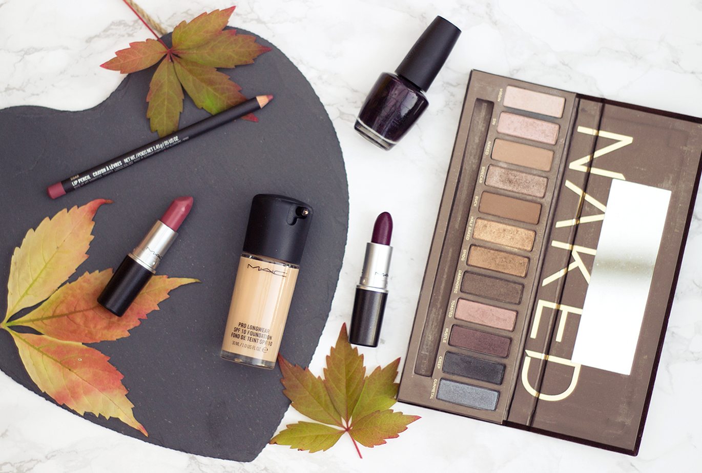 The Makeup Edit: Switching it up for Autumn, MAC Cosmetics, Autumn Makeup bbloggers, MAC Soar Liner, MAC Mehr Lipstick, MAC Rebel Lipstick, MAC Prolongwear foundation, Urban Decay Naked Palette, OPI Black Cherry Chutney