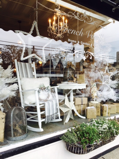 French vanilla home a vintage christmas for Boutique window display ideas