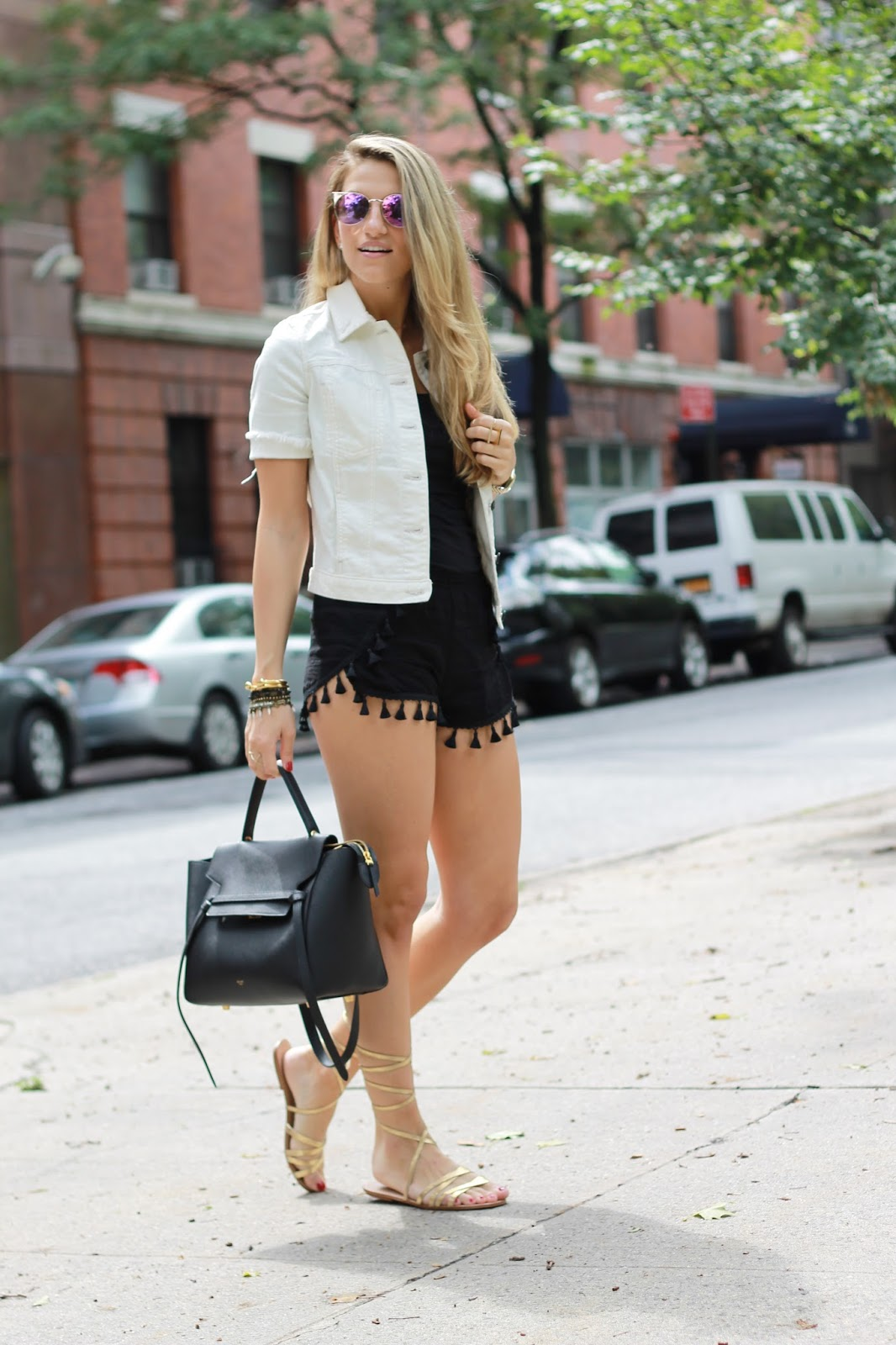 black celine belt bag, flat lace up sandals