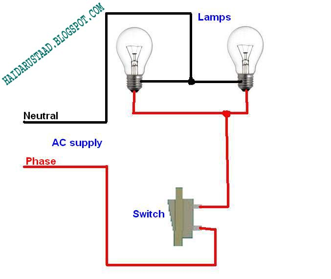 how to control 2 lamps bulbs by one way switch parallel circuit rh haidarustaad blogspot com Light Switch Wiring Diagram Wiring Switches and Plugs