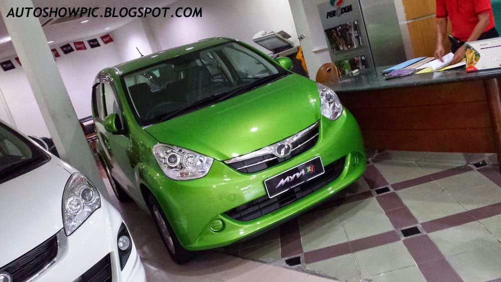 Lime Green Myvi XT front view