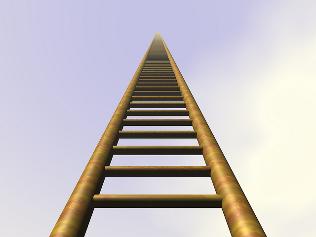 A ladder stretching up to the sky