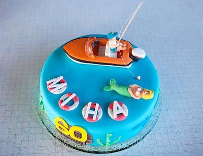 Torta Ribič na morju - Fisherman on sea fondant cake