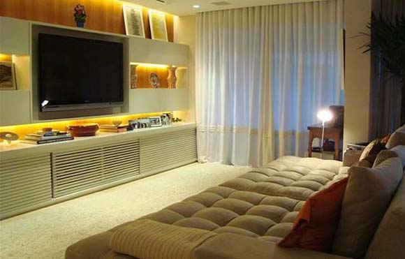 Sala De Tv Pequena Ideias ~ Etiquetas decoração , Sala , Salas Pequenas