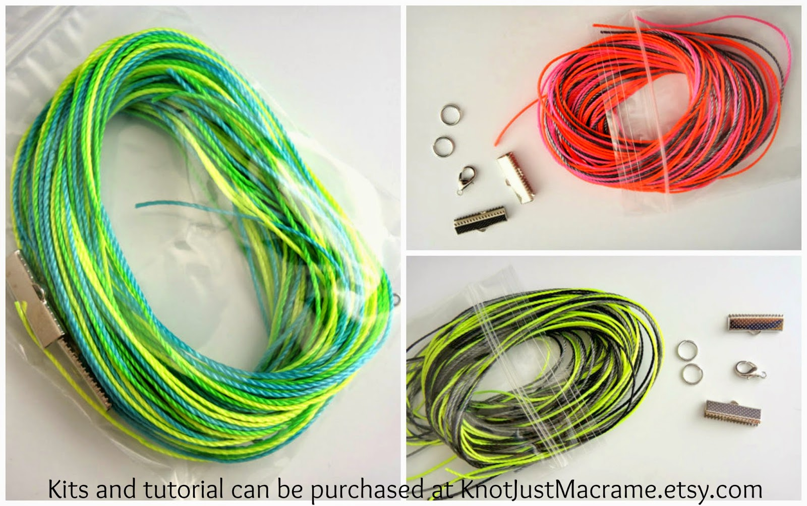 Neon materials kits available for Curves Micro Macrame Bracelet tutorial.