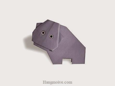 Cách gấp, xếp con hà mã bằng giấy origami - Video hướng dẫn xếp hình - How to make a Hippopotamus