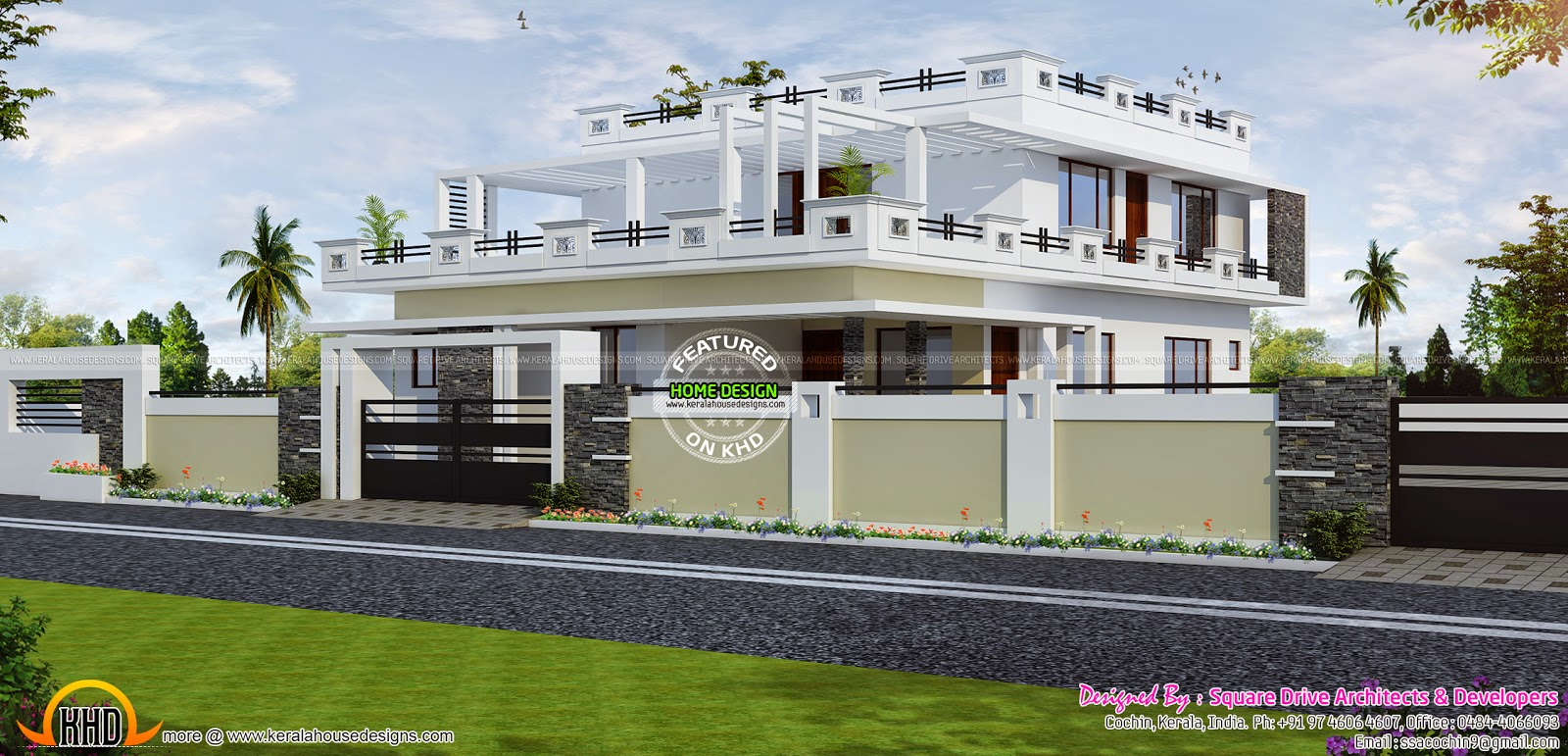5649 sq ft 5 bhk house exterior keralahousedesigns for 5 bhk house