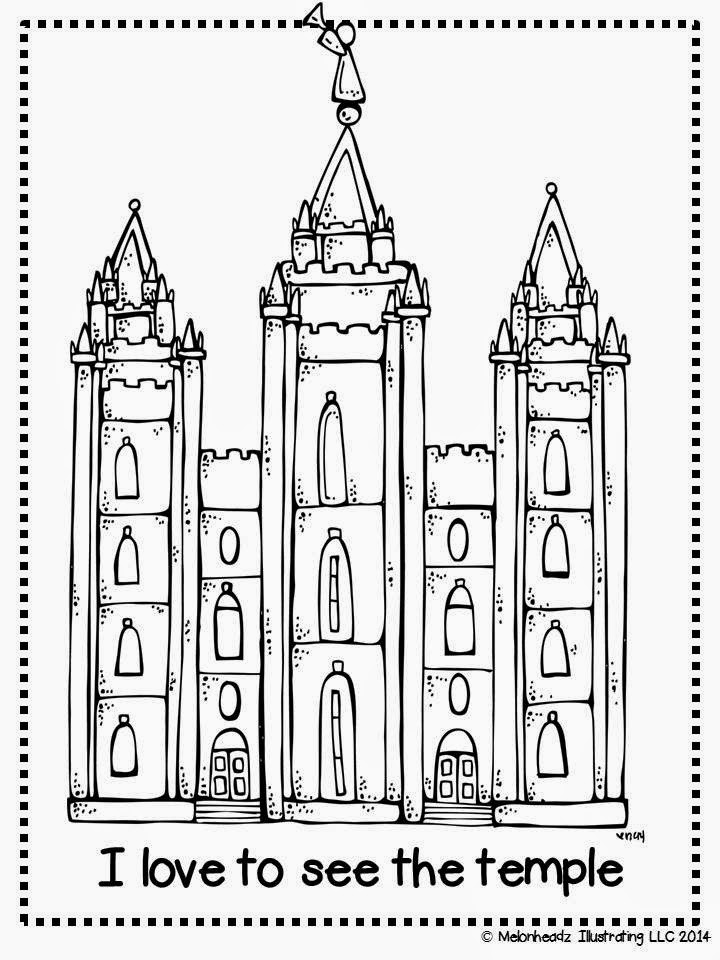 Melonheadz LDS illustrating I Love to see the temple coloring page