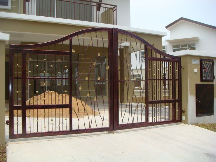 Modern homes iron main entrance gate designs ideas for Modern house gate