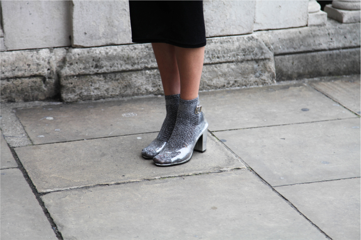 London Fashion Week street style transparent sandal heels with grey socks