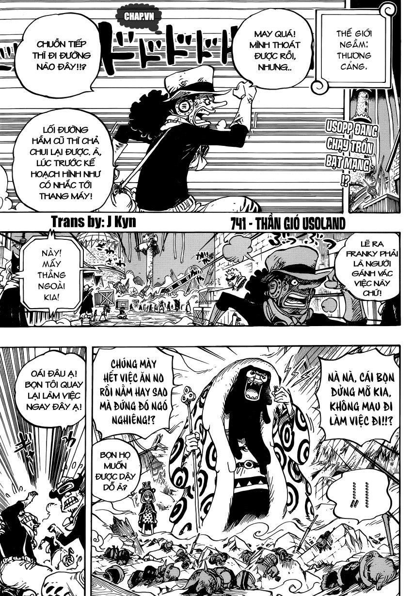 One Piece Chapter 741: Thần gió Usoland 003