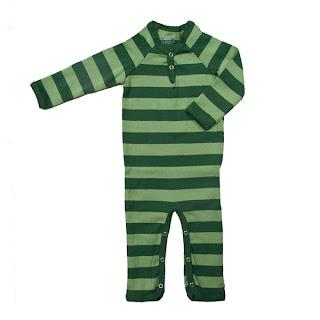 Green stripe babygro