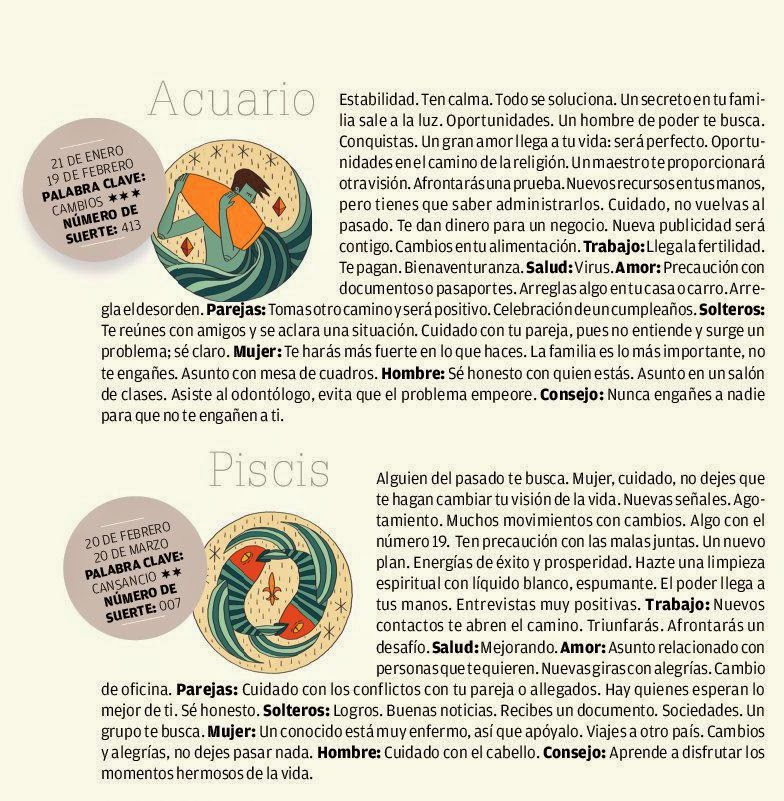 ... Acuario, Piscis del 29 al 5 de julio de 2014 Adriana Azzi Sedes