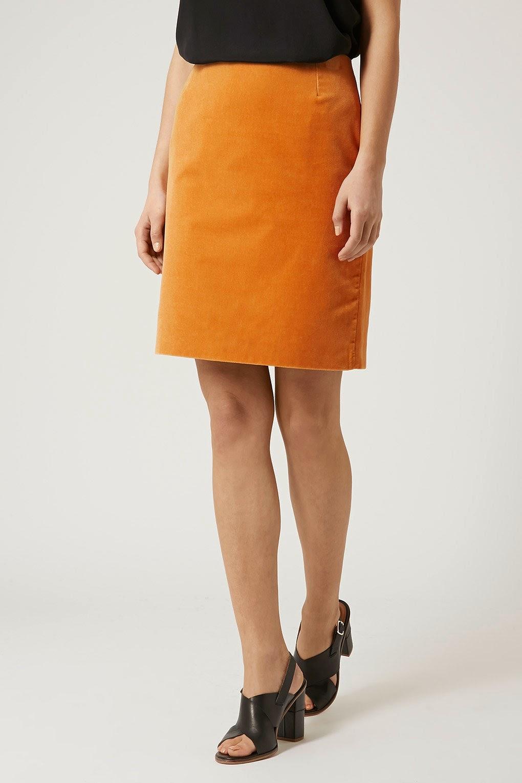 mustard velvet skirt,