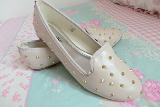 Gail Nude Leather Look Gold Studded Slipper Shoes from She Likes