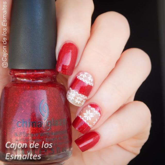 Uñas navideñas - Rojo y Blanco