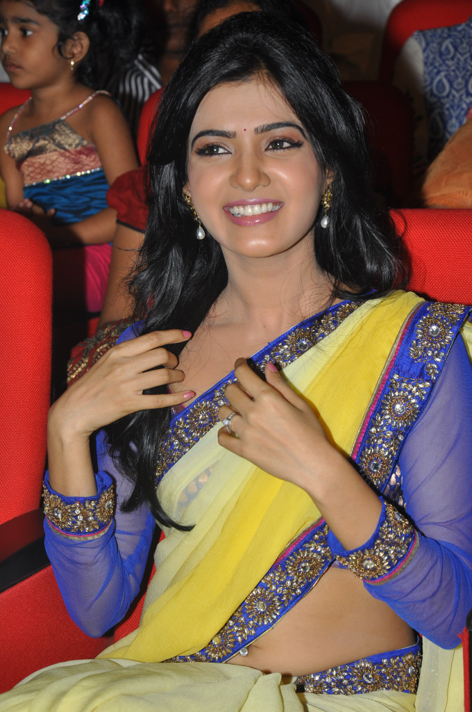 samantha saree at dookudu audio launch, samantha spicy saree unseen pics