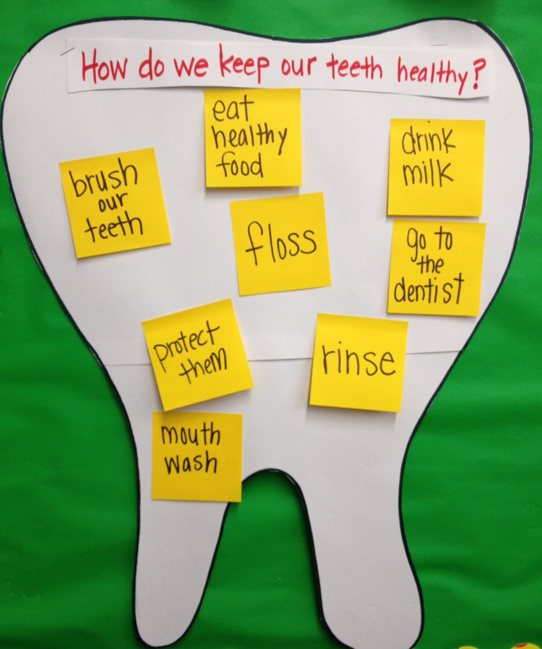 We talked about keeping our teeth healthy, what types of foods are ...