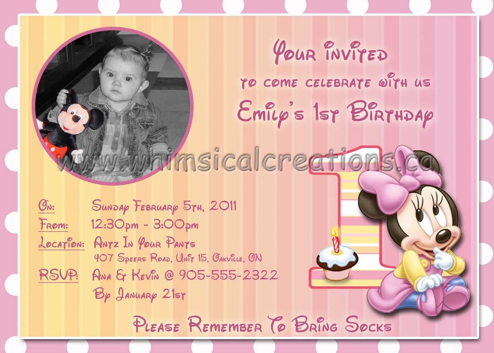 WhimsicalCreations.ca: Minnie Mouse Birthday Invitation and matching ...