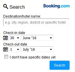 Find the best deals via booking.com