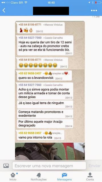 Policiais de Goiás ameaçam matar presidente do STF e promotores em grupo de WhatsApp