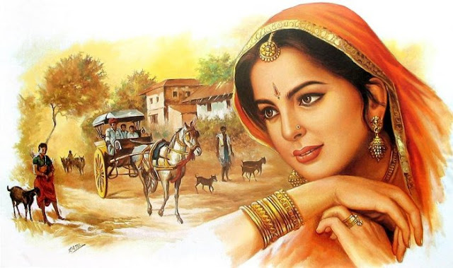 Rajasthani Girls Art Paintings 34