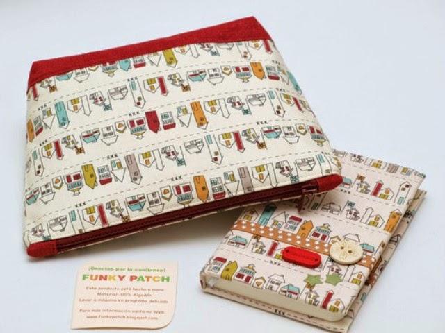 neceser y cuaderno para bolso en tela handmade por funkypatch y mimosorum