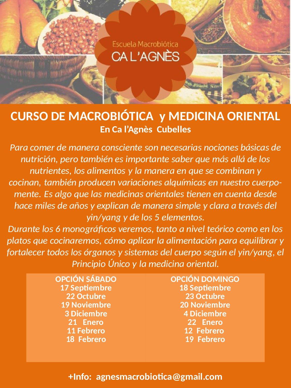 CURSO DE MACROBIÓTICA Y MEDICINA ORIENTAL EN CUBELLES (Barcelona)