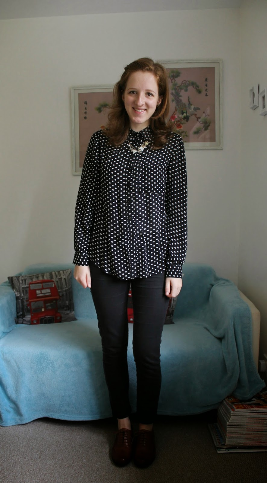 OOTD Spotty Shirt and Brogues