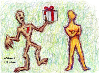 a heartless zombie offering a gift