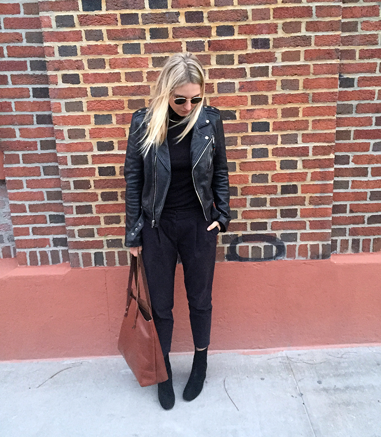 BLK DNM leather bomber jacket, Tibi pants, Free People boots, Splendid turtleneck, J.Crew choker, Ray-Ban Lennon sunglasses