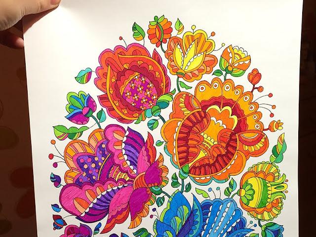 пример раскраски с цветами